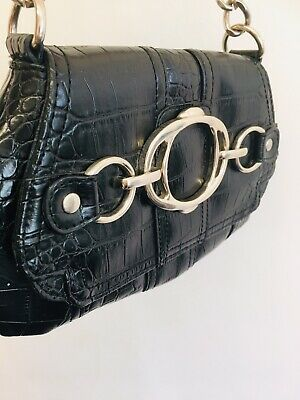 Next Lovely  Small Black And Silver Croc Effect  Handbag • 8£