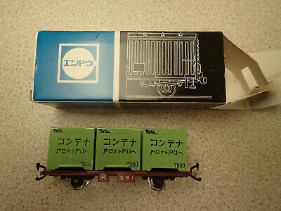 ENDO HO Gauge Pressed Steel Flat Wagon With Container Load Poss Unused • 27.99£
