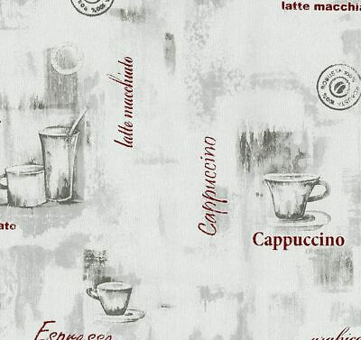 P+S Grey Red Coffee Cup Wallpaper Typography Kitchen Textured Paste Wall Vinyl • 13.99£
