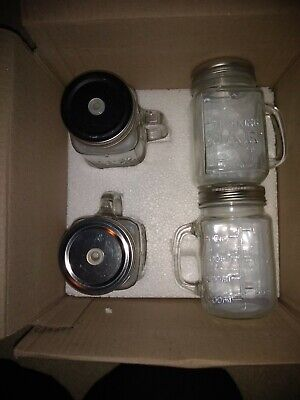 4 Drinking Jars With Lids And Straw Hole.  New • 10£