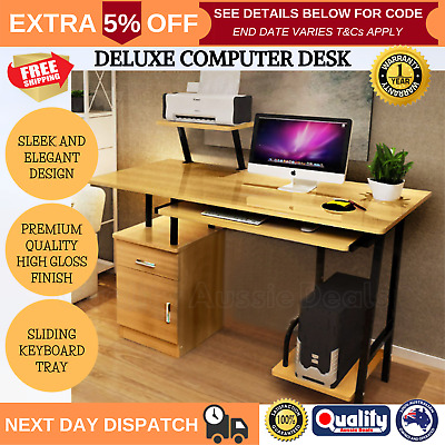 AU144.01 • Buy High Gloss Deluxe Oak Computer Desk Home Or Office With Drawers And Shelves NEW