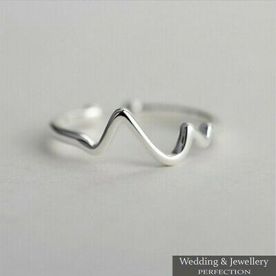 100% 925 Sterling Silver Wave Ring Band Open Finger Toe Fully Adjustable Jewelry • 7.95£