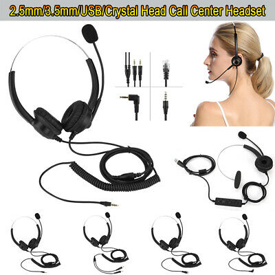 £8.70 • Buy Call Center Headset Telephone Corded Wired Microphone Office Head Phone RJ11 MIC