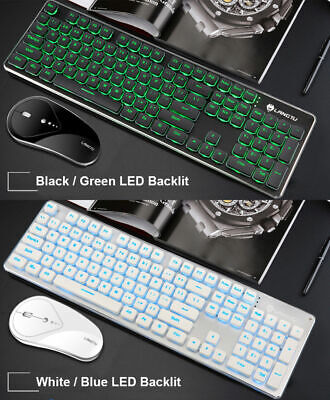 AU55.45 • Buy Wireless Rechargeable USB Green / Blue LED Backlit Keyboard And Optical Mouse