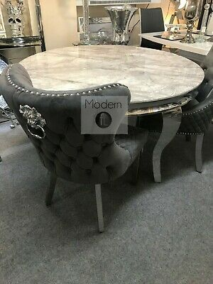 £469.99 • Buy Marble Louis Round Dining Table With Curved Chrome Leg & Chairs Option