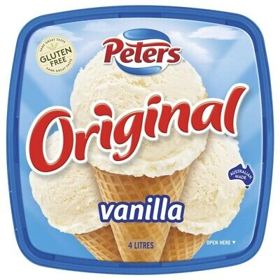 View Details Peters Gluten Free Original Vanilla Ice Cream Tub 4L • 7.50AU