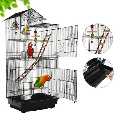 £35.99 • Buy Open Top Large Metal Bird Cage For Budgie Parrot Canary Cockatiel 99cm High