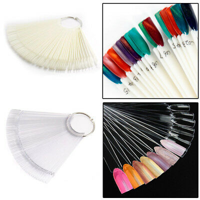 50pcs Nail Art False Tips Practice Display Color Chart Manicure With Ring Set UK • 4.95£