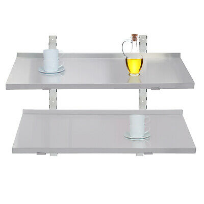 100cm Stainless Steel Shelves 2 X Commercial Catering Kitchen Room Wall Shelf   • 69£