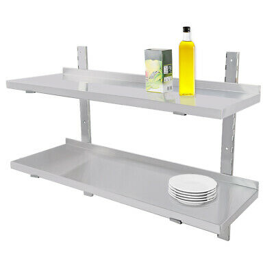 Stainless Steel Shelves 2 X Commercial Catering Kitchen Room Wall Shelf  1200mm • 73.80£