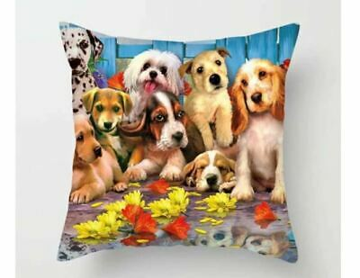 Pups  Cushion Cover 45cm Painting Pets Dog Puppy Funny • 5.35£