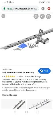 Stronghold Wall Starter Stainless Steel Kit With Ties & Fixings • 8£