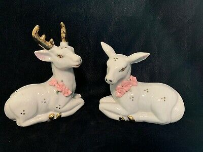 $ CDN31.72 • Buy Vintage Porcelain Deer Figurines White With Pink Flowers And Gold Trim Got China