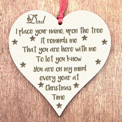 In Memory Of Dad Memorial Gifts Christmas Decorations Bereavement Bauble Sign N2 • 5.99£