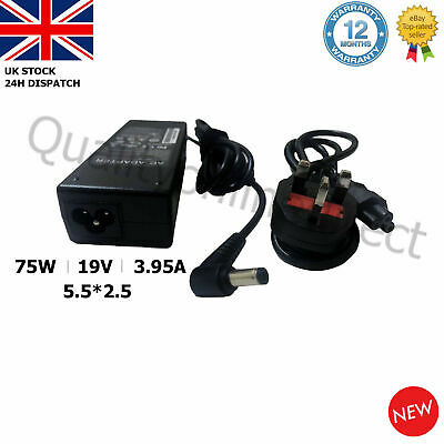 19V 3.95A 5.5*2.5mm 75W TOSHIBA LAPTOP CHARGER AC ADAPTER R33030 N193 V85 N17908 • 12.94£