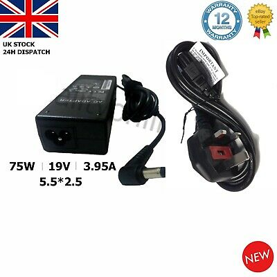 Toshiba Laptop Charger Adapter 19v 3.95a 75w  R33030 N193 V85 N17908 + Uk Cord • 12.94£