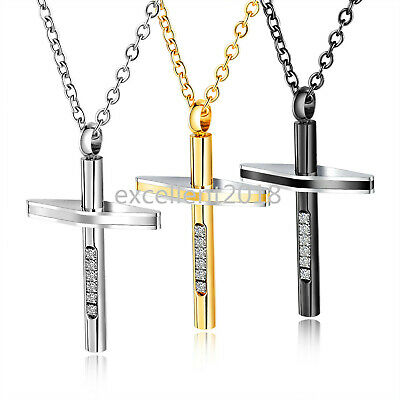 $6.69 • Buy Christian Cross Pendant Man Necklace Crystal Best Wish Boy Long Chain Necklace