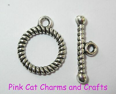 10 Sets X Tibetan Silver TOGGLE CLASPS WITH TWIST PATTERN 19mm Jewellery Finding • 2.16£