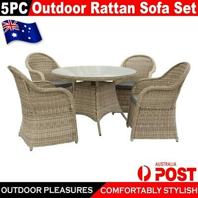 AU788.98 • Buy 5Pc Rattan PE Wicker Sofa Outdoor Indoor Furniture Lounge Dining Garden Set