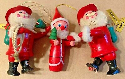 $ CDN24.26 • Buy VINTAGE CHRISTMAS HOLIDAY ORNAMENTS FIGURINES SANTA CLAUS WOODEN PAINTED Lot 3