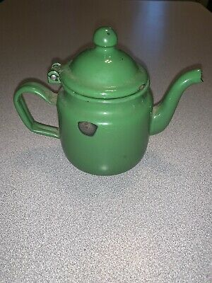 $12.95 • Buy Green Enamel Ware Small Mini 4.5  Hinged Lid Teapot Tea Pot Vintage Collectible