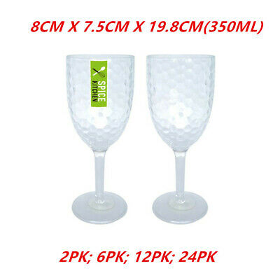 AU64.95 • Buy Plastic Ripple Style Wine Glass 350ML Clear Cup Drink Reusable Beer Champagne