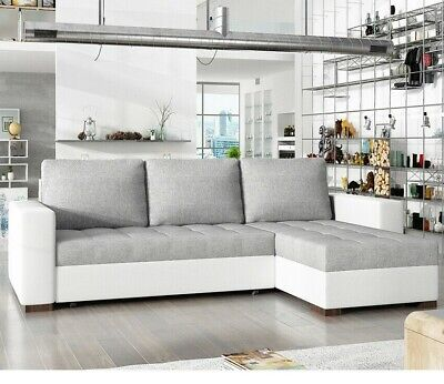 Corner Sofa Bed NEWARK With Storage Container Springs Universal Corner Side New • 395£