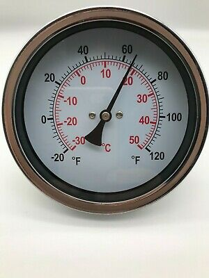 £15.99 • Buy Bimetal Dial Thermometer -30 To 50°C & F Back Entry 60mm Stem 1/2  BSP -30+50CF