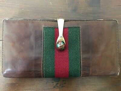 $129.99 • Buy RARE Vintage Gucci Equestrian Jockey Hat Clasp Leather Green Red Stripes Wallet