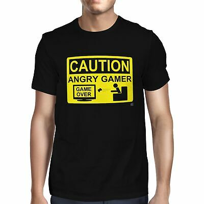 1Tee Mens Caution Angry Gamer T-Shirt • 5.49£