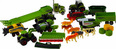 £19.99 • Buy Large 18 Piece Diecast Plastic Tractor Farm Animals And Vehicles Toy Play Set