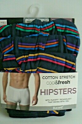 M&S Cotton Stretch Hipster Trunks Cool & Fresh Flexifit PK 3 UK Small 30 - 32  • 13.85£
