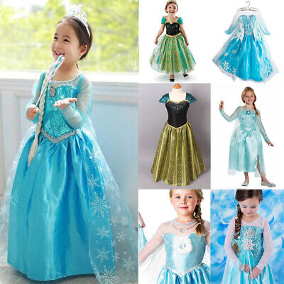 AU19.95 • Buy Girls Dress Costume Queen Princess Elsa Anna Cosplay Birthday Party Size 1-8 Yrs