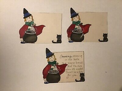 $ CDN59.13 • Buy Vintage 1917 Halloween Home Made Card Lot Witch's Brew Black Cat