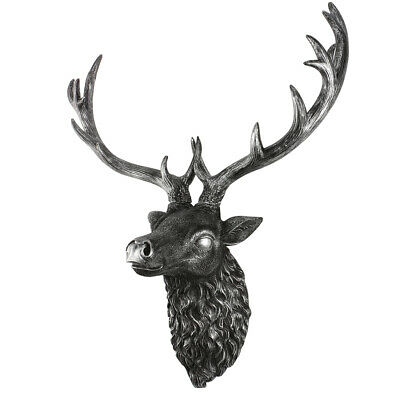 Large Wall Mounted Silver Stag Head Home Art Decoration Animal Deer Head • 18.99£