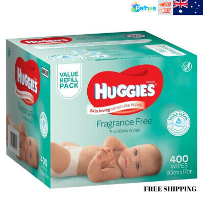 AU19.99 • Buy HUGGIES Fragrance Free Baby Wipes Alcohol Free, 400 Wipes Refill Pack