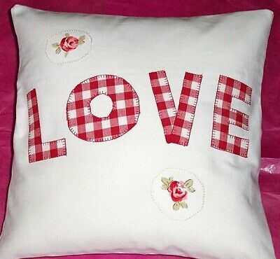 Laura Ashley Gingham Red & 'Bibi' Rose LOVE Cushion Covers Unique 16'' Cotton BN • 12.99£