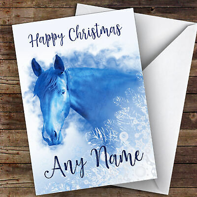 £3.79 • Buy Blue Horse Snowflake Animal Personalised Christmas Card
