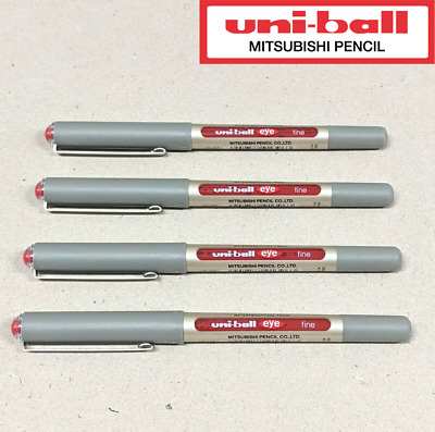 AU11.09 • Buy 4 X Uni-ball Eye Pigment Ink Roller Ball Pen Red 0.7mm Fine UB-157