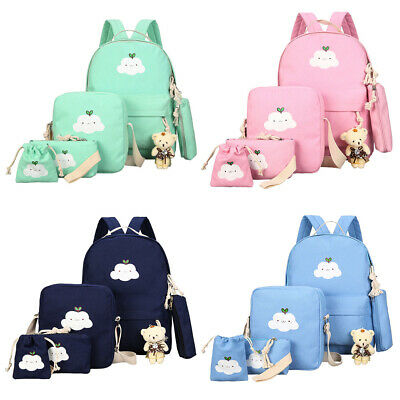 $17.90 • Buy 6pcs/Set Women Backpack Canvas Travel Teenage Bookbag Girls Shoulder School Bag