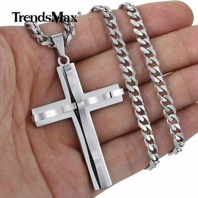 $8.83 • Buy Mens Cross Charm Pendant Necklace Curb Cuban Stainless Steel Chain 5mm 18-24''