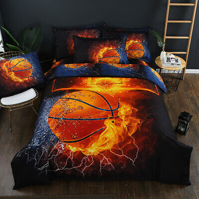 Basketball Quilt Doona Duvet Cover Set Single Queen King Size Bed Cover Sports • 38.06AU