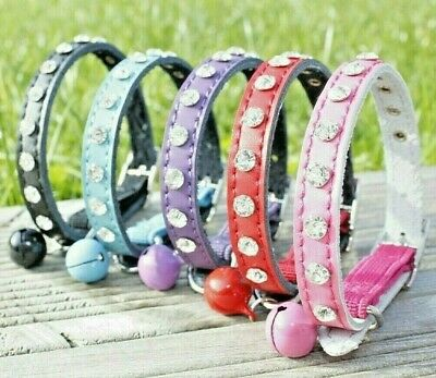 Cat Collar Diamante Leather Safety Elastic Bell Pink Purple Black Red Boy Girl • 4.99£
