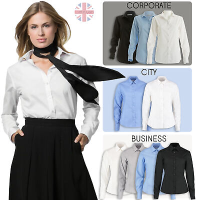 £9.99 • Buy Womens Ladies Smart Long Sleeve Shirt Fitted Workwear Uniform Office Blouse New