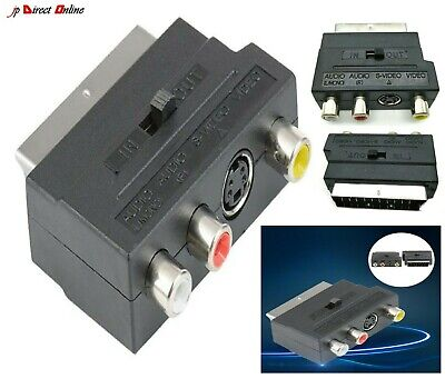 RGB Scart Socket To Composite 3 RCA SVHS S-Video AV TV Audio Cable Adapter DVD • 2.92£