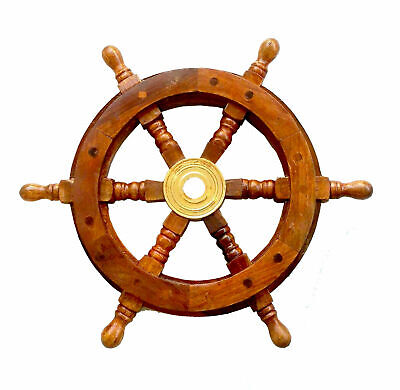 12 Nautical Wooden Ship Steering Wheel Pirate Decor Wood Brass Fishing Wall Boat • 19£