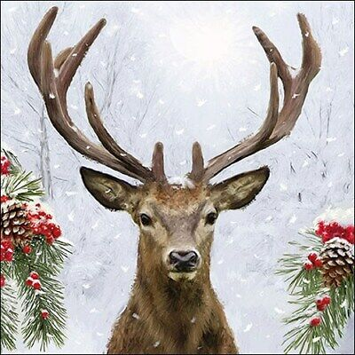 £2.50 • Buy 5 Paper Napkins Deer In Winter  Pack Of 5 3 Ply Tissue Serviettes Animals