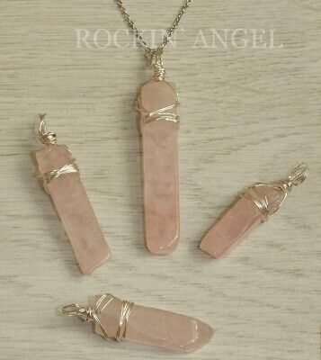 Natural Rose Quartz  Wire Wrapped Pendant Necklace Crystal Reiki Healing Gift • 6.49£