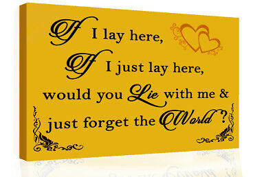 If I Lay Here - Snow Patrol QUOTE Canvas Wall Art Picture Print Mustard / Yellow • 16.49£