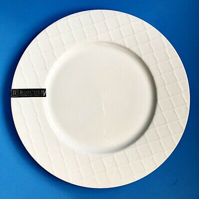 "$14.99 • Buy ROSCHER 10 1/2"" White Embossed Lattice Pattern Porcelain Dinner Plate-Brand New!"